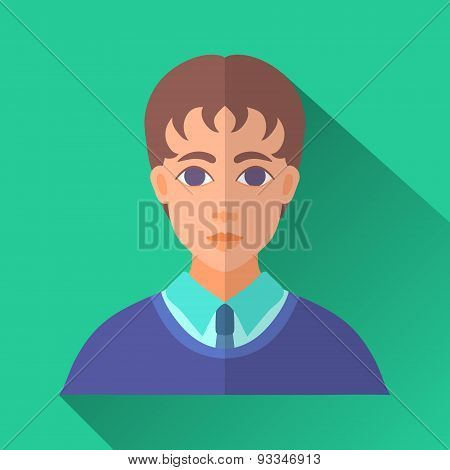 Young Student Male Character, Square Flat Icon