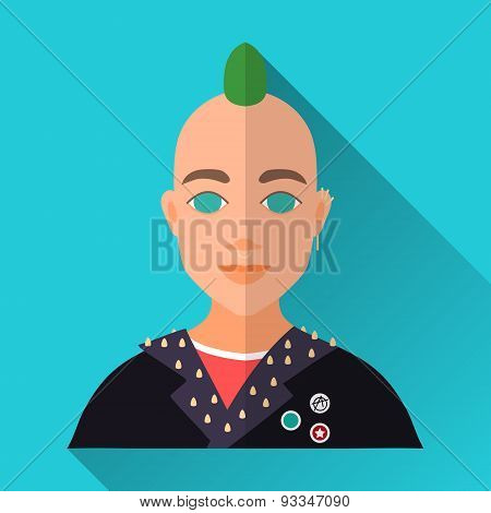 Punk With Green Mohawk And Piercing, Square Flat Icon