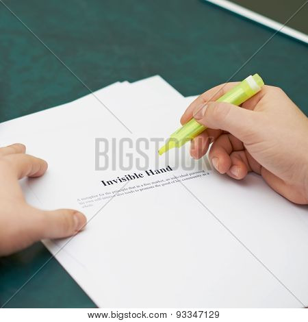 Marking words in an invisible hand definition