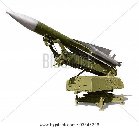 Anti-aircraft Defence System On White Background