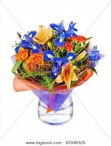 Flower Bouquet From Roses, Lilies, Iris  And Other Flowers.