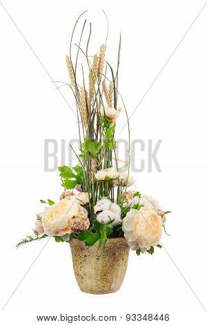 Bouquet From Peony Flowers, Cotton Balls And Ears Of Wheat.
