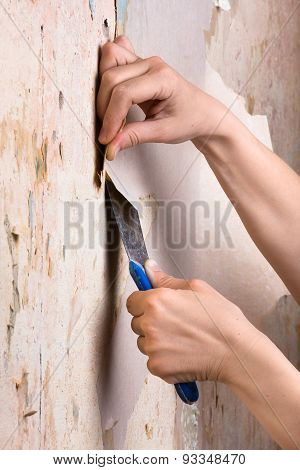 Hands Scraping Off Old Wallpaper