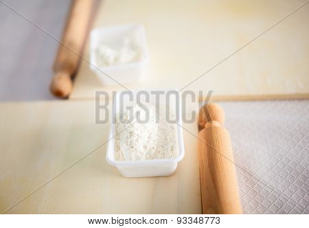 Rolling Pin With White Wheat Flour