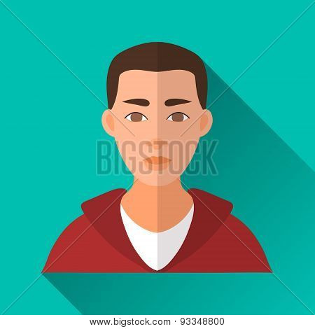 Young Man In Sport Wear, Square Flat Icon