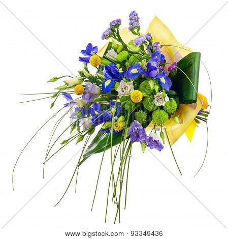 Flower Bouquet From Roses, Green Carnation, Iris And Statice Flowers.