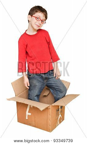 Happy young children in box
