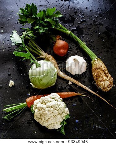 Vegetable soup ingredients