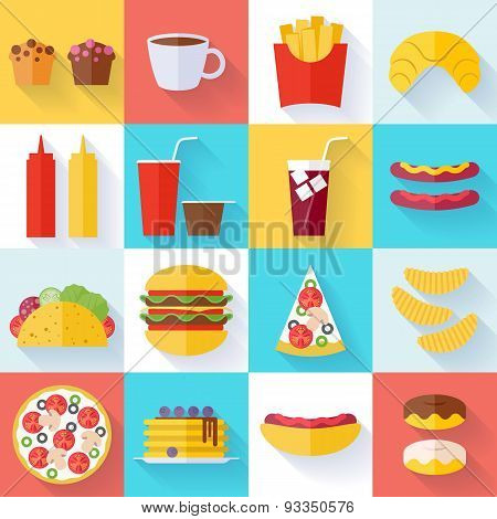 Fast food icons set - flat style.