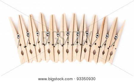 Wooden clothespin composition isolated