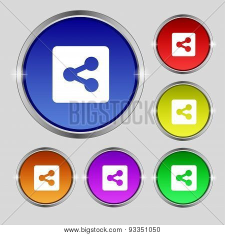 Share  Icon Sign. Round Symbol On Bright Colourful Buttons. Vector