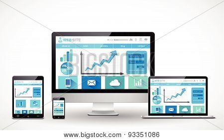 Responsive business web design concept
