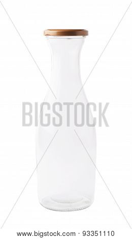 Empty milk glass bottle isolated