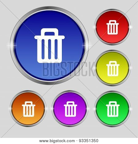 Recycle Bin Icon Sign. Round Symbol On Bright Colourful Buttons. Vector