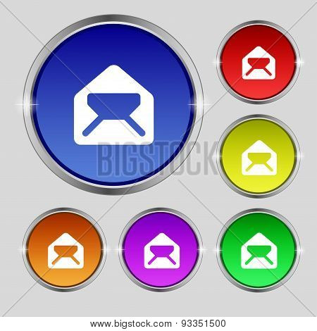 Mail, Envelope, Letter Icon Sign. Round Symbol On Bright Colourful Buttons. Vector