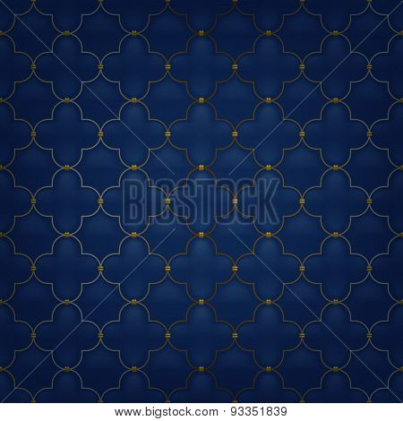 Quilted simple arabesque seamless pattern. Dark blue color.