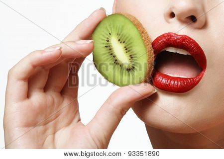 Kiwi And Female Lips