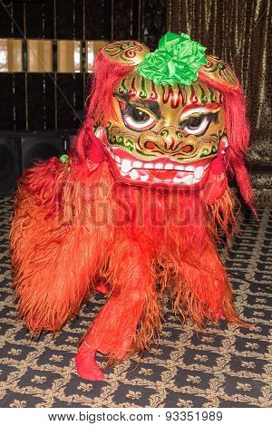 Chinese Red Lion Dance At New Year Day