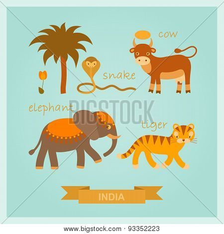 vector set of cartoon amusing Indian animals