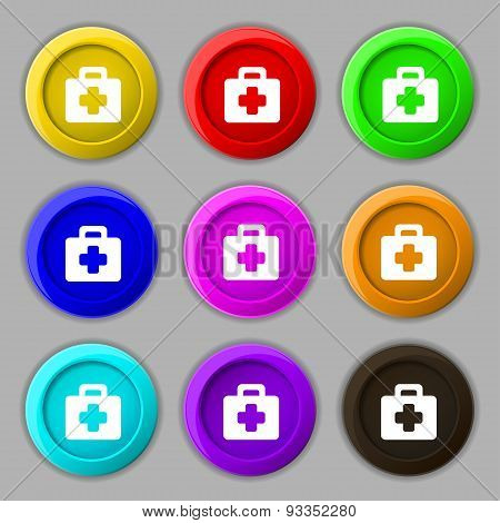 First Aid Kit Icon Sign. Symbol On Nine Round Colourful Buttons. Vector