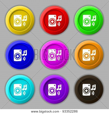 Music Column, Disco, Music, Melody, Speaker Icon Sign. Symbol On Nine Round Colourful Buttons. Vecto