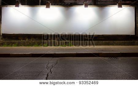 Big Empty Billboard At Night In City.
