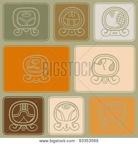 Seamless background with Maya calendar named days and associated glyphs