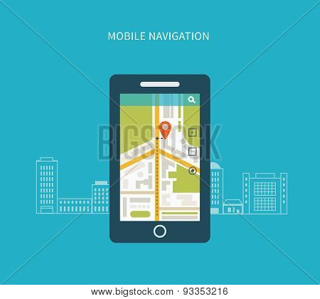 Mobile gps navigation on mobile phone with map.