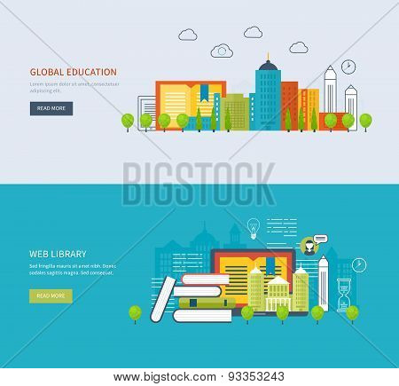 Flat design modern vector illustration icons set of global education, online training courses, staff