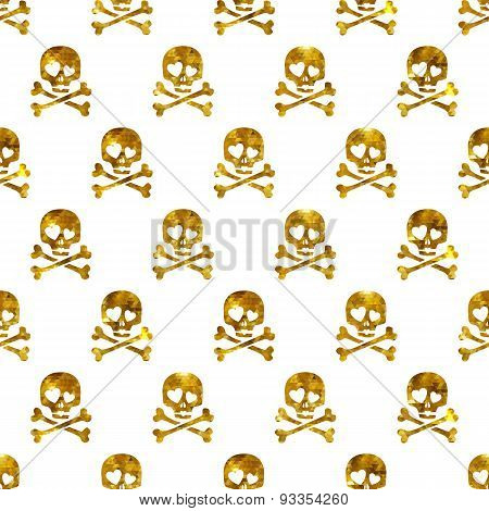 Golden glitter skulls in love seamless pattern.