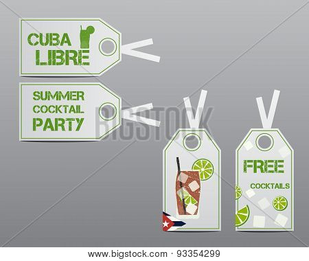 Summer Cocktail Party Stickers And Labels Layout Template With Cuba Flag And Cuba Libre Cocktail. Fr