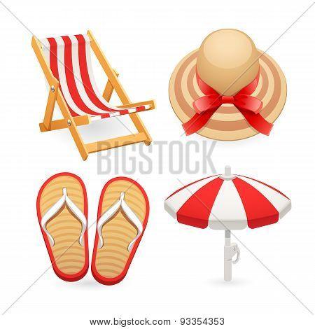 Beach Accessories Icons Set