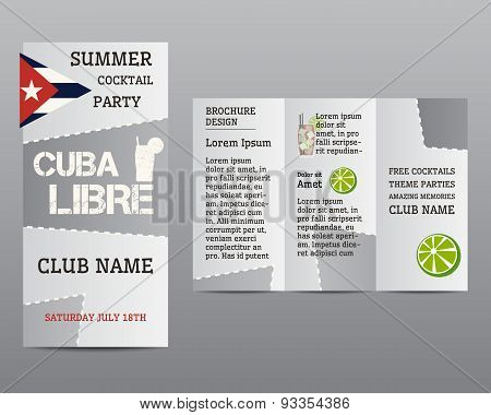 Summer Cocktail Party Flyer Invitation Template With Cuba Libre Cocktail And Infographic Elements. M