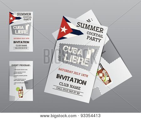 Summer Cocktail Party Flyer Invitation Template With Cuba Libre Cocktail And Shadow. Modern Ice Desi