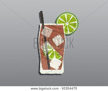 Cuba Libre Cocktail With. Fresh Grunge Design With Slice Of Lime And Shadow. Isolated On Stylish Gre
