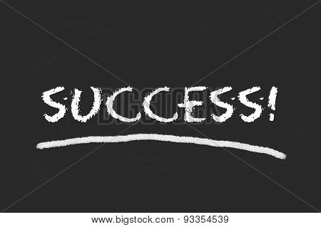 Success Script On Black Blackboard