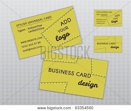 Summer Yellow Stylish Business Card And Visiting Template. Unusual Design. Corporate Identity. Isola