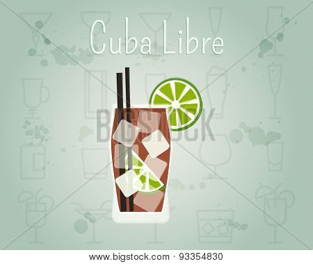 Cuba Libre Cocktail Banner And Poster Template. Summer Stylish Design. Isolated On Unusual Backgroun