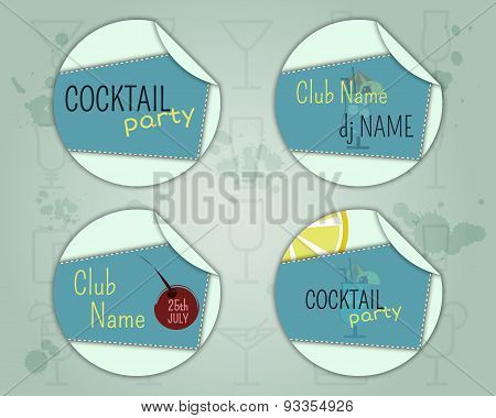 Summer Cocktail Party Badge And Label Layout Template With Blue Lagoon Cocktail, Lemon And Cherry El