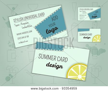 Summer Cocktail Party Business Card Layout Template With Blue Lagoon Cocktail, Lemon And Cherry Elem