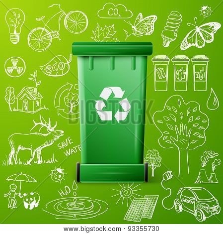 Green Recycle Bin and Ecology doodle icons