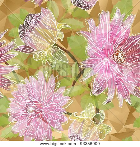 Seamless background with blooming Garden asters flowers in triangles style