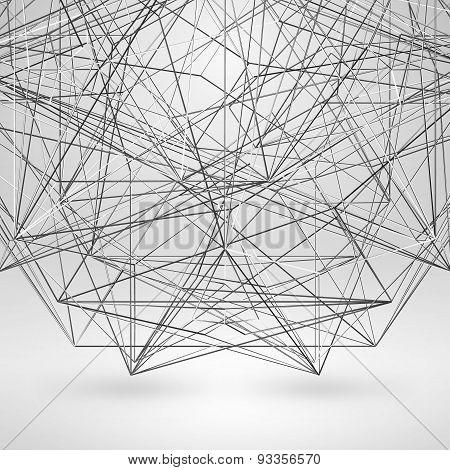 Wireframe Polygonal Element. Vector Abstract Background With Thin Lines
