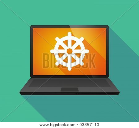 Laptop Icon With A Dharma Chakra Sign