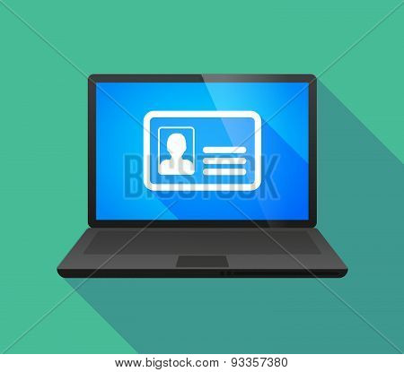 Laptop Icon With An Id Card