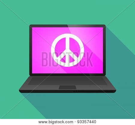 Laptop Icon With A Peace Sign