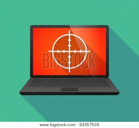Laptop Icon With A Crosshair