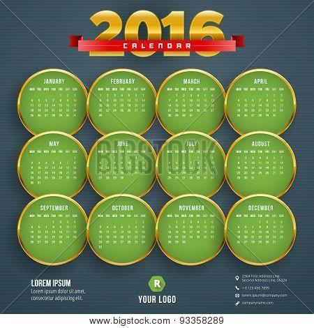 Vector Design Template. Calendar 2016. Week Starts Monday