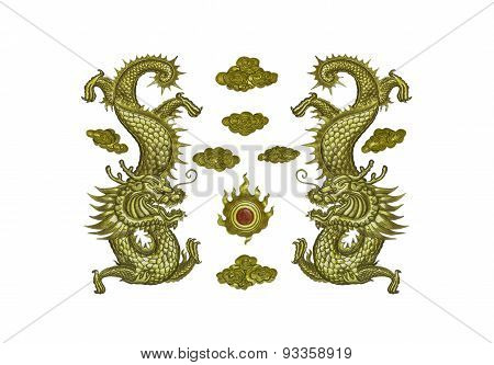 The Gold Dragon On Wood.