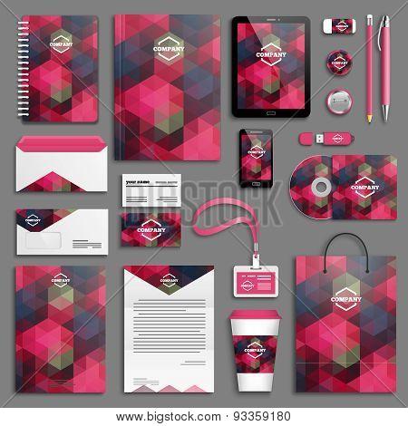 Corporate identity template set - burgundy